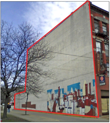 The red outline shows the additional area that the new Sprout Fund Mural will cover when it is finished.