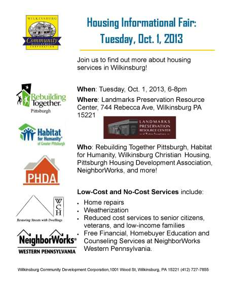 Check Out The Wilkinsburg Housing Informational Fair on Oct 1